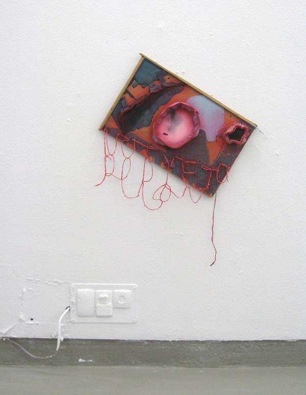 18 lolk untitled, acrylic, string, wood glue, and mixed media on board, 60x47 cm