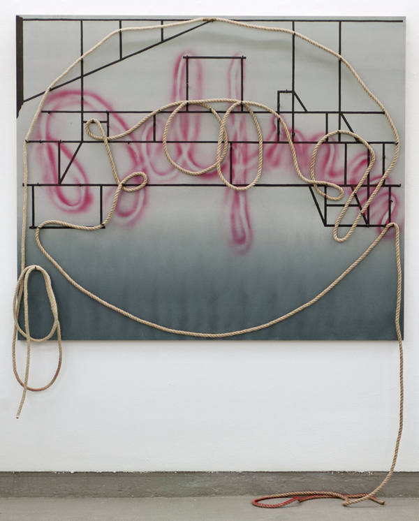 untitled, acrylic, rope, and nails on board, 122x146 cm